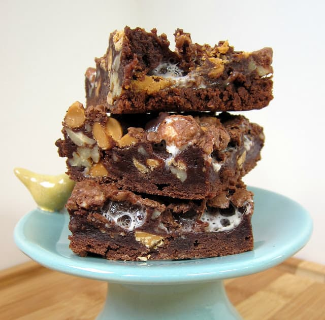 Rocky Road Brownies Recipe - homemade brownies loaded with butterscotch chips, pecans and marshmallows. Super easy dessert! Can switch up the chips and nuts. Just as easy to make as a boxed mix, but SO much better!