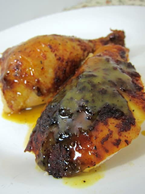 The Ritz Carlton BBQ Chicken with Honey Mustard BBQ Sauce - citrus brined chicken(lemon, orange, grapefruit and rosemary) with homemade BBQ rub and homemade Honey Mustard BBQ Sauce. Baked in the oven for 60-90 minutes.