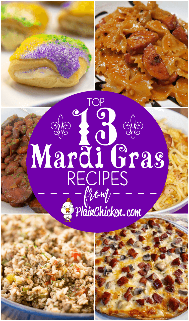 Top 13 Mardi Gras Recipes to celebrate Fat Tuesday. Cajun pasta, dirty rice, red beans and rice, Po Boys and KING CAKE! All you need is a Hurricane and you are set to let the good times roll! #mardigras