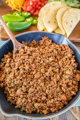 skillet of taco meat