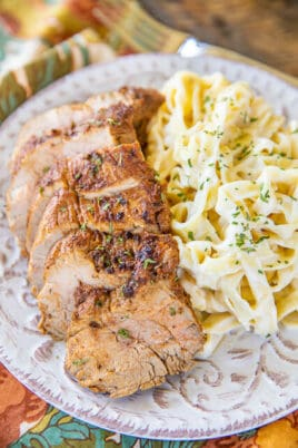 sliced pork tenderloin with pasta