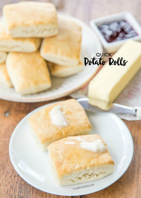 plate of rolls and butter