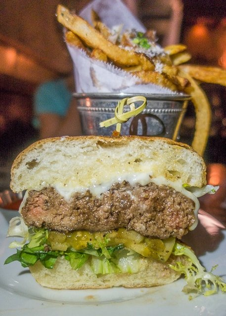 Half Pound Burger at Ice Plant Bar -  Where to Eat in St. Augustine, Florida - we found several hidden gems in St. Augustine that you MUST try on your next trip. Pizza, Burgers, Sandwiches, Craft Cocktails, and CRAZY milkshakes! Something for everyone!!