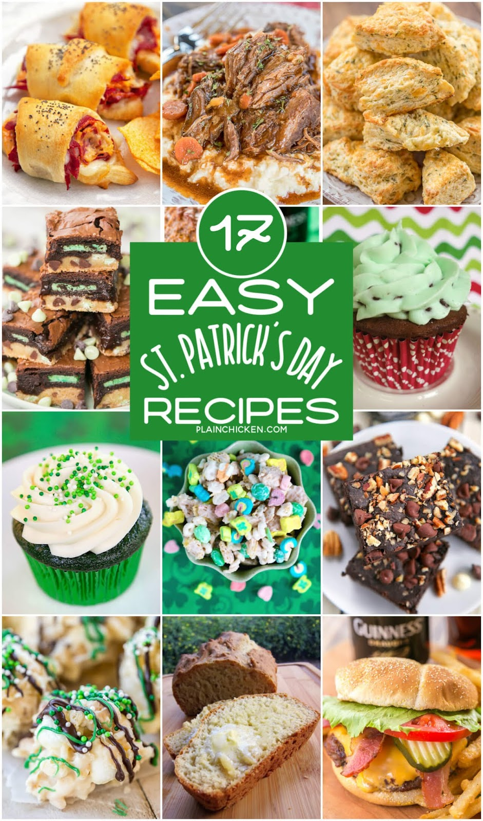 collage of recipes for St. Patrick's Day
