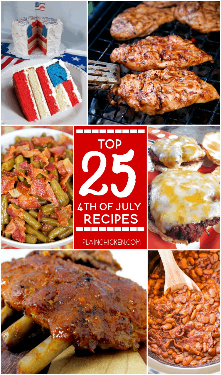 Top 25 4th of July Recipes - 25 easy and delicious recipes for your holiday celebration! Appetizers, main dishes, side dishes and desserts. Something for everyone!