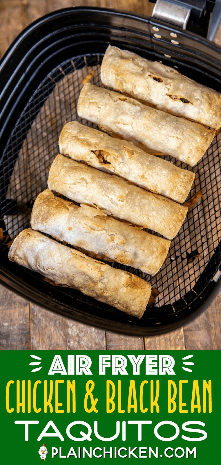 baked chicken taquitos in air fryer basket