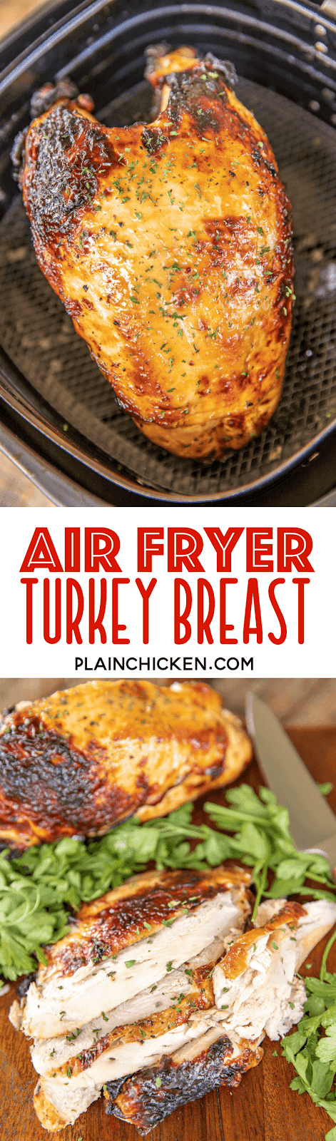 collage of 2 photos of air fryer turkey breast