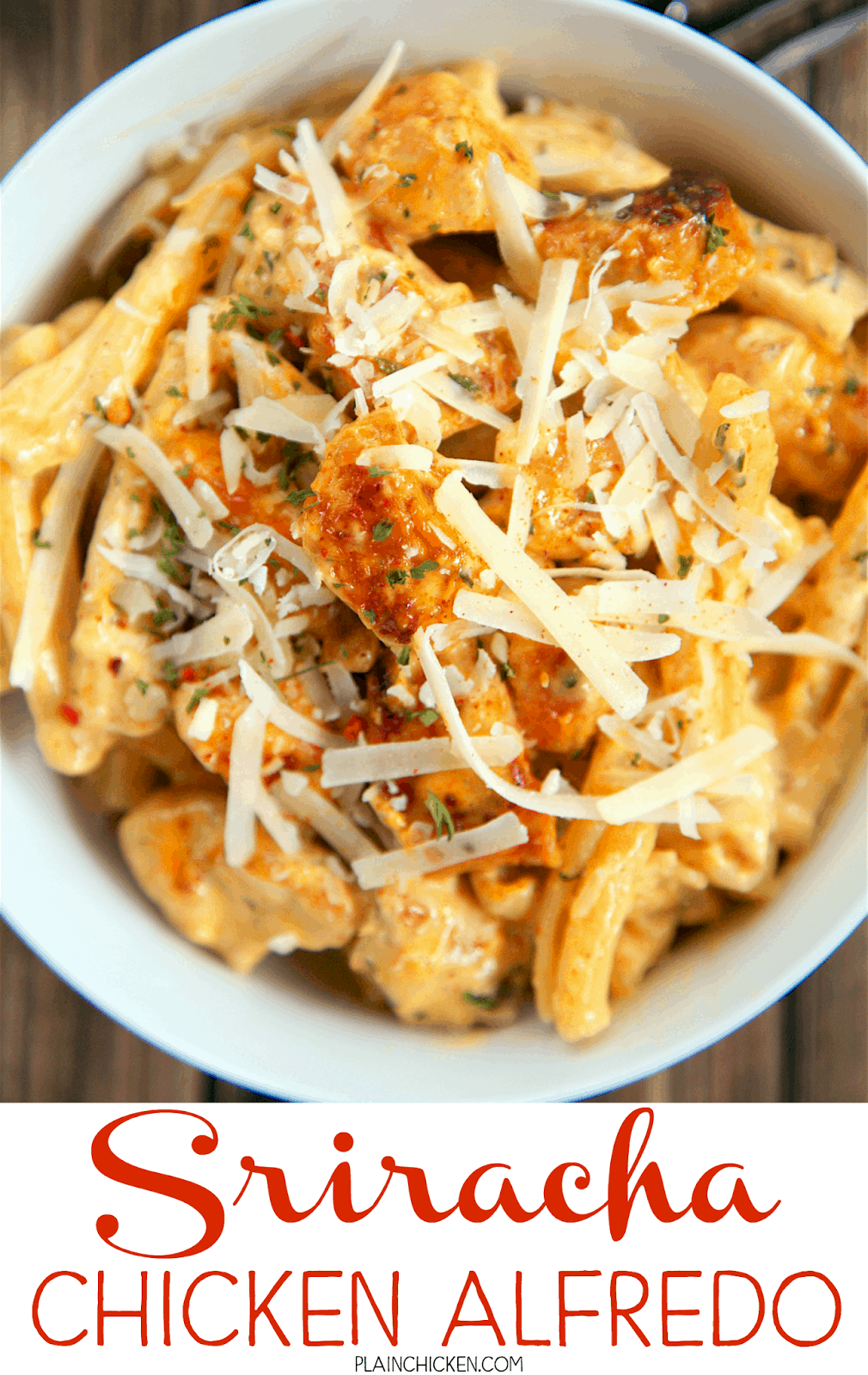 Sriracha Chicken Alfredo - super quick pasta dish that is ready in 15 minutes and requires no prep work! Chicken, sriracha seasoning, garlic and onion powder, heavy cream, parmesan cheese and pasta. We can not get enough of this simple dish!! It is SOO good!! I wanted to lick my plate! Serve with a salad and some crusty bread for a quick and easy weeknight meal!