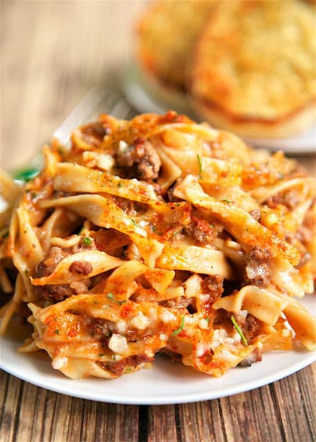 Amish Country Casserole - comfort food at its best!! Hamburger, Tomato soup, cream of mushroom, onion, garlic, milk, Worcestershire sauce, egg noodles and parmesan cheese. SO simple and tastes amazing! Everyone cleaned their plate!!! Makes a great freezer meal for an easy weeknight dinner.