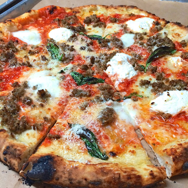 Lasagna Pizza from Antico in Atlanta, GA - topped with meatball, ricotta and romano - THE BEST!