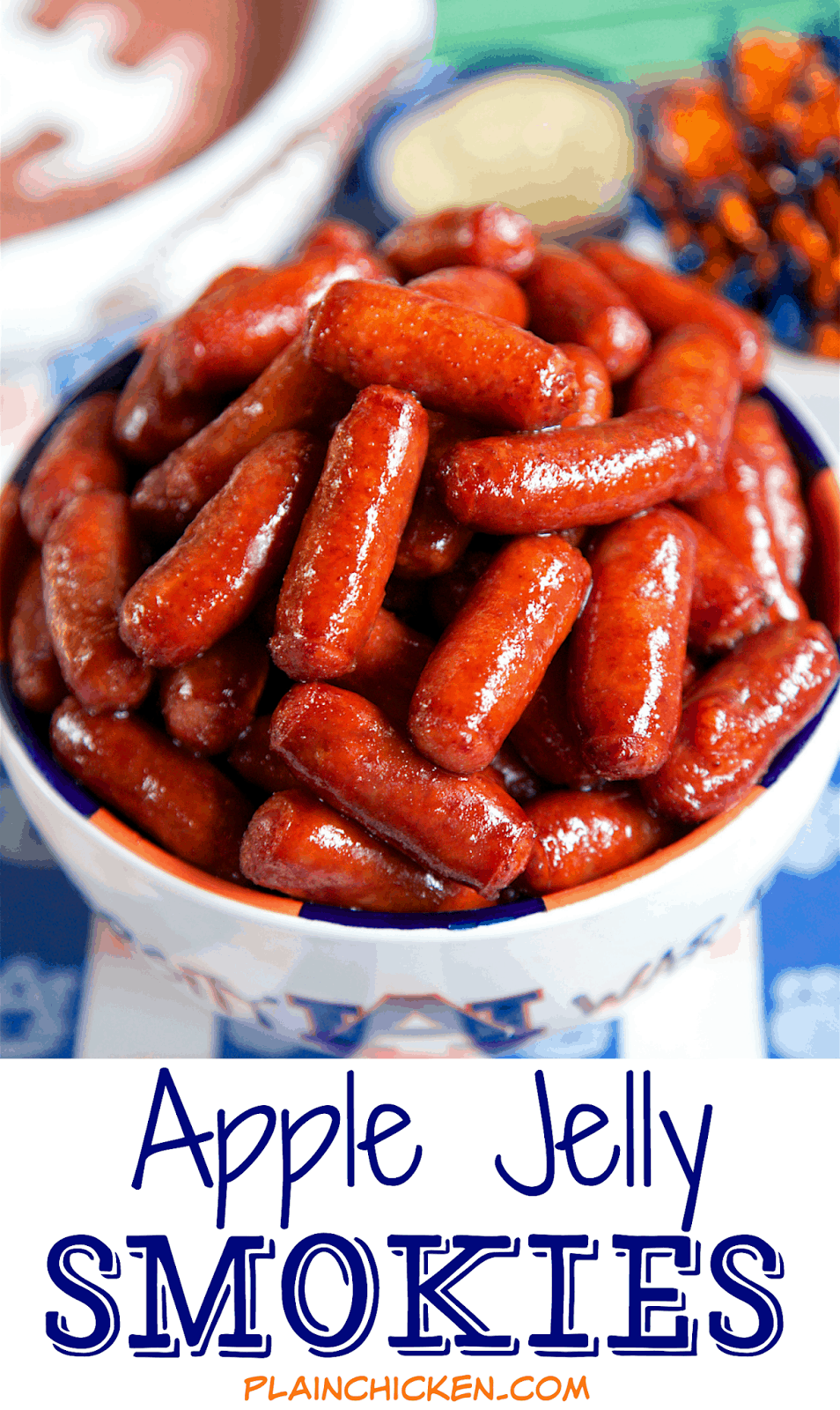 Apple Jelly Smokies - OMG! SO good! These are always a huge hit at parties! Only 3 ingredients! Can make on the stovetop or in the slow cooker. I always double the recipe - they don't last long!