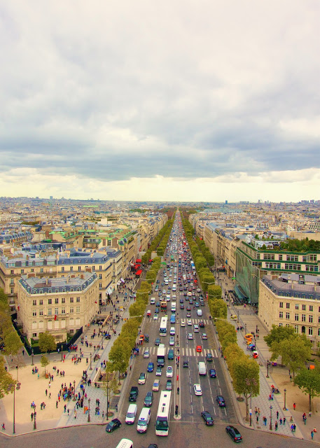 View of the Champs-Élysées from the top of the Arc de Triumph