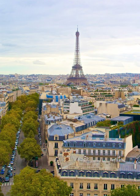 View of the Eiffel Tower from the top of the Arc de Triumph