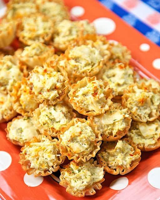 artichoke appetizer bites on a platter