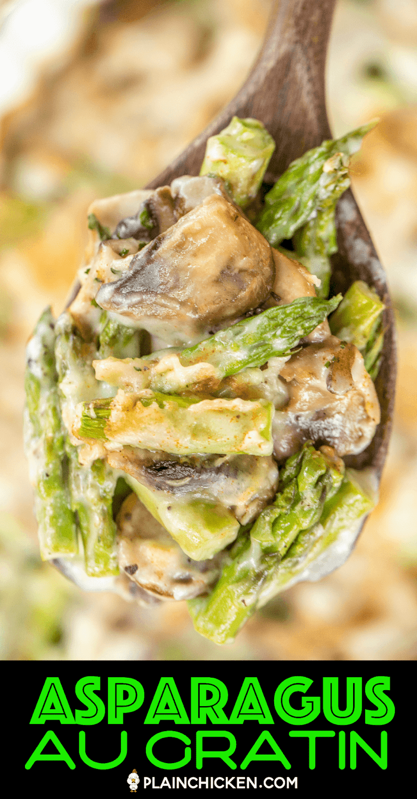 spoonful of cheesy asparagus and mushrooms