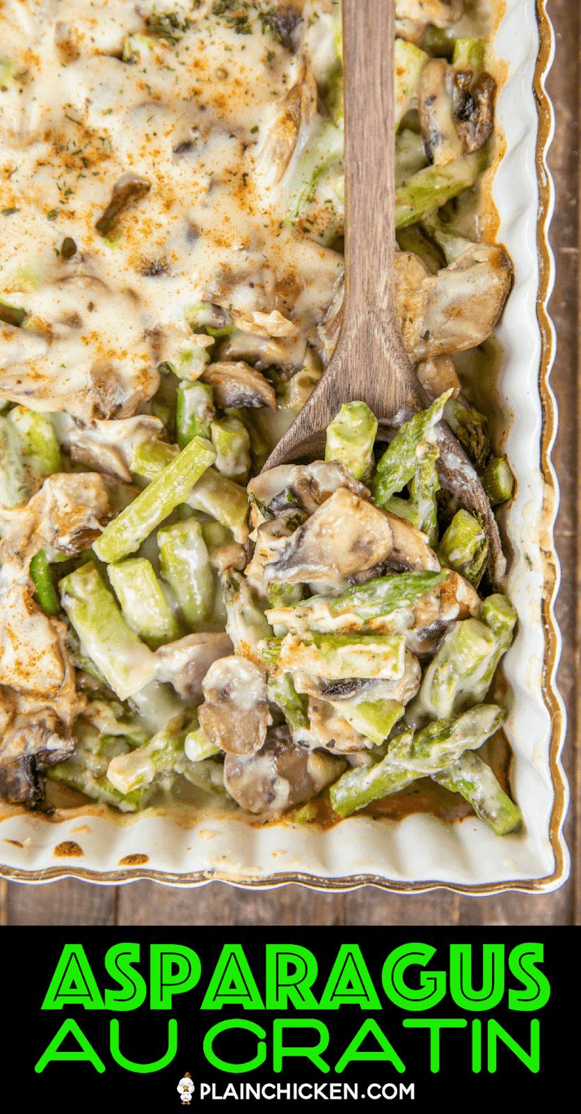 baked cheesy asparagus and mushrooms