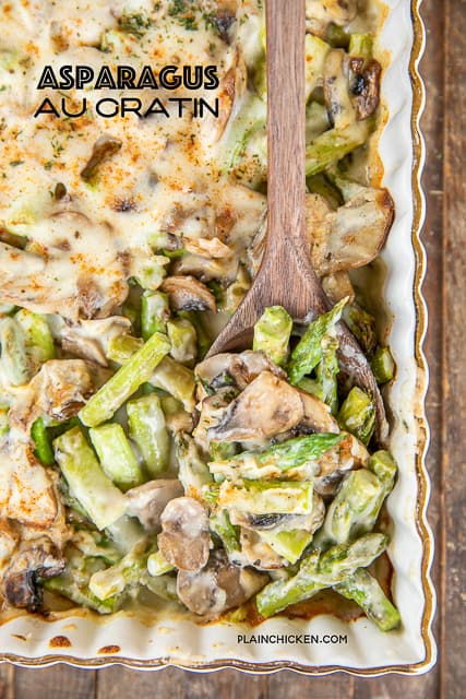 cheesy asparagus and mushrooms in baking dish