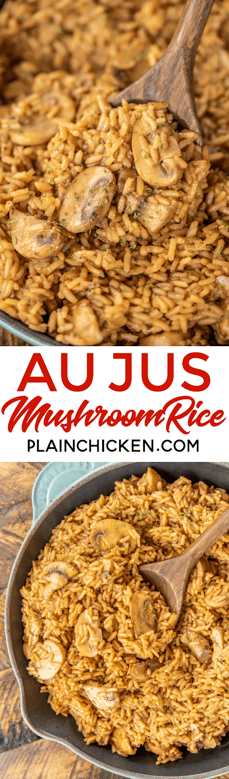 Au Jus Mushroom Rice - seriously delicious! Rice slow cooked in butter, onion, oregano, salt, pepper, beef broth, au jus gravy mix and mushrooms. I could make a meal out of this delicious rice!!! Ready to eat in under 30 minutes! Add some leftover steak, ground beef or pork for a quick main dish. #rice #beef #mushrooms