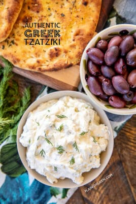 bowl of tzatziki with olives
