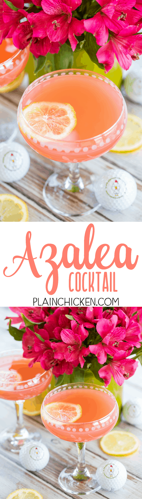 Azalea Cocktail - the signature cocktail of the Masters golf tournament! SO light and refreshing! Perfect for watching the golf tournament and spring/summer parties. Lemon juice, pineapple juice, vodka and grenadine. Can make a pitcher or a single cocktail. This is our signature cocktail recipe! SO good!!!
