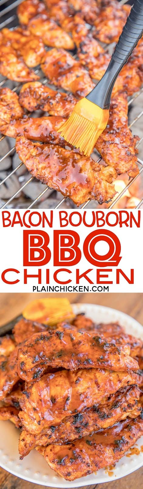 Bacon Bourbon BBQ Chicken - THE BEST chicken EVER! Chicken coated in a BBQ Bacon paste and brushed with Bourbon BBQ sauce. Chicken, bacon, bourbon, bbq sauce, salt, garlic powder, onion powder, pepper, paprika, brown sugar. We made this twice in one week it was SO good. Even our picky eaters asked for seconds! Make this!! #grilling #chicken #grilledchicken #bacon
