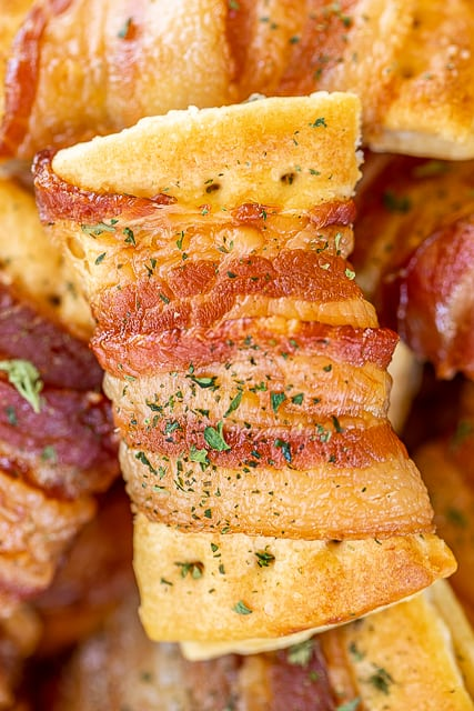 plate of bacon wrapped crackers