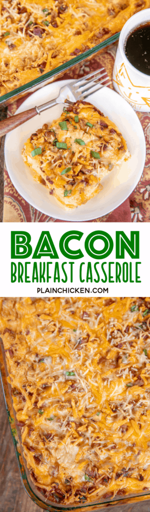 collage of 2 photos of bacon breakfast casserole