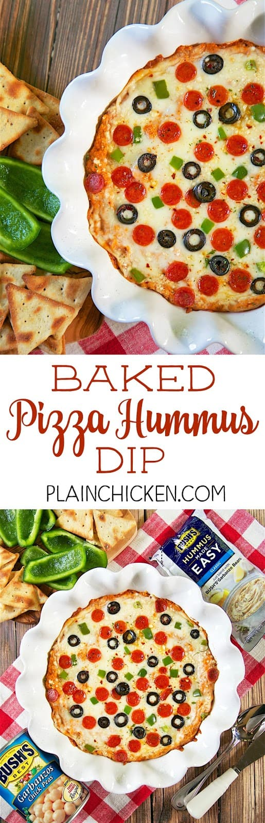 Baked Pizza Hummus Dip - quick homemade pizza hummus topped with mozzarella, parmesan and your favorite pizza toppings. Start with garbanzo beans and a pouch of Bush's Classic Hummus Made Easy, add tomato paste, garlic, Italian Seasoning and parmesan cheese. Bake for 15 minutes. Serve with bell pepper slices and pita chips. Great for a quick party appetizer or alternative for pizza night!