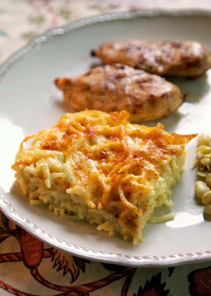 slice of baked spaghetti on a plate