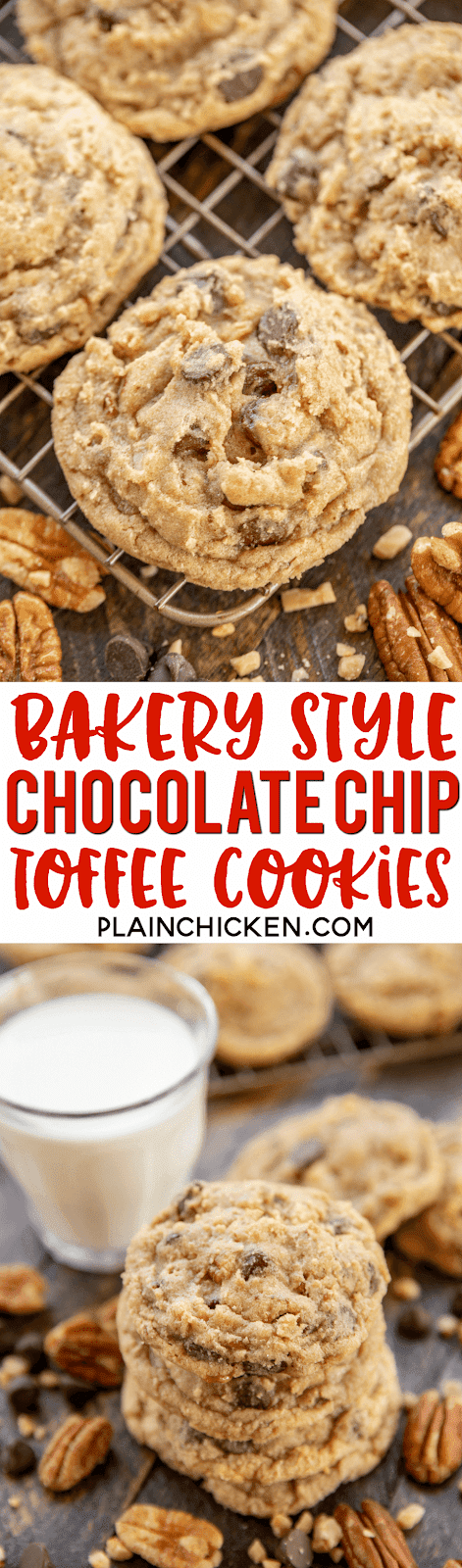 Bakery Style Chocolate Chip Toffee Cookies - crispy on the outside and chewy on the inside. Perfection!! All you need is a glass of milk! Butter, brown sugar, eggs, vanilla, baking soda, flour, chocolate chips, toffee bits and pecans. Cookies are best when dough is chilled for a couple of hours before baking. These are better than any bakery cookie! We could not stop eating them! SO good!! #cookies #chocolatechip #cookie #dessert
