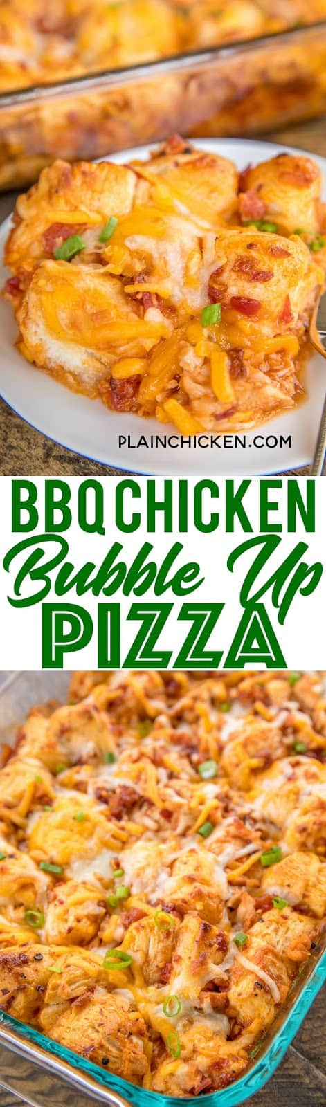 BBQ Chicken Bubble Up Pizza Recipe - Biscuit Pizza Casserole Recipe - Bubble Up Pizza - only 5 ingredients and ready in under 30 minutes! Refrigerated biscuits tossed in BBQ sauce chicken, bacon,topped with mozzarella and cheddar. We LOVE this casserole! We make this at least twice a month!! #pizza #casserole #chickenrecipe