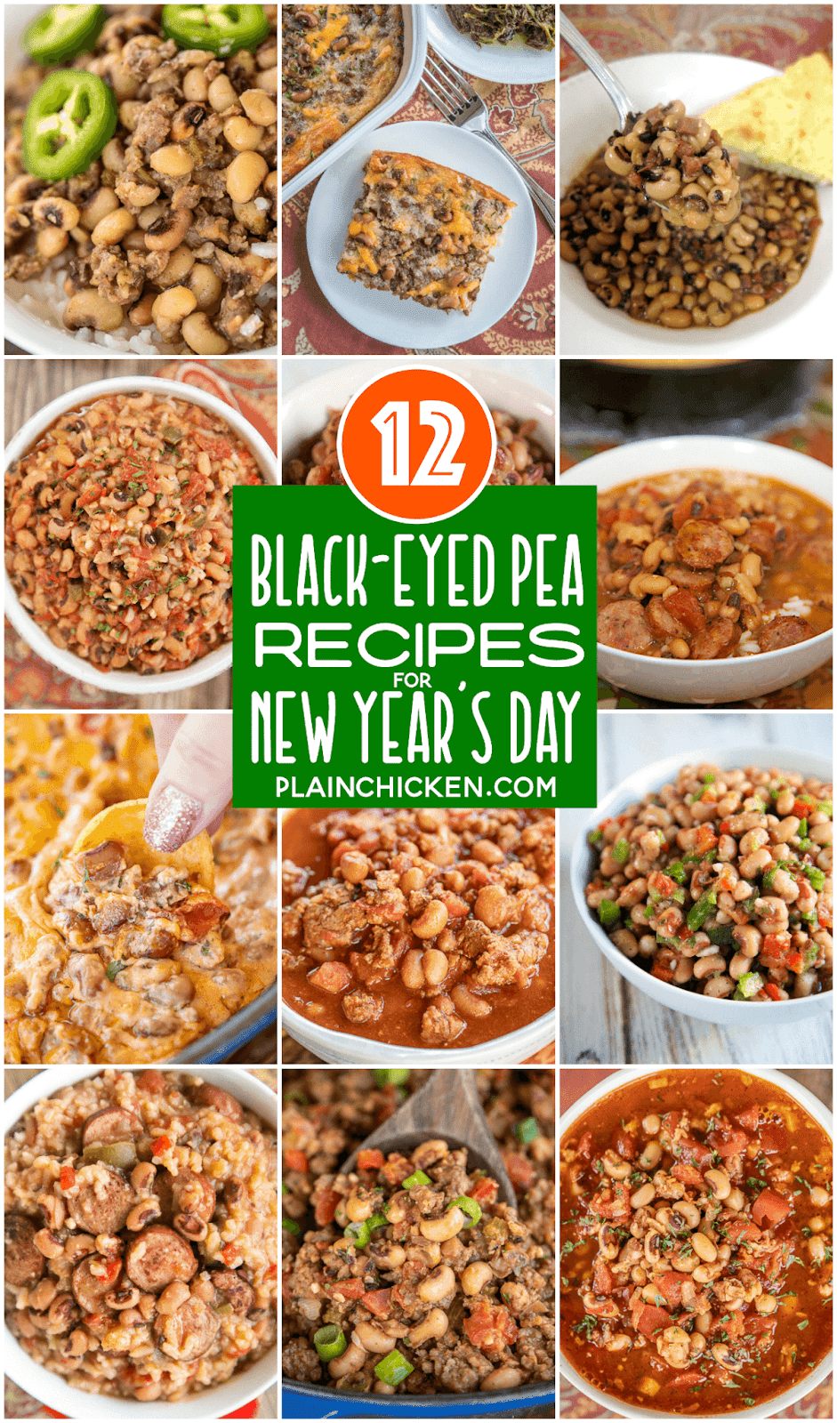 collage of black eyed pea recipes