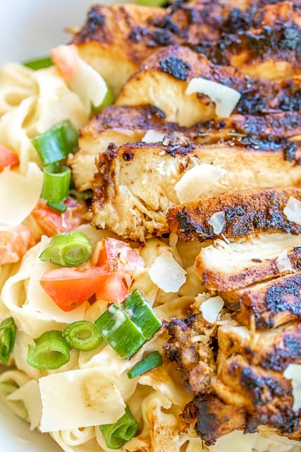 close up of blackened chicken and alfredo pasta