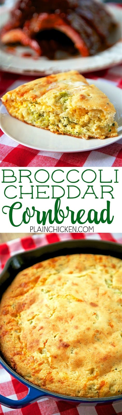 Broccoli Cheddar Cornbread - only 6 ingredients! This stuff is crazy good!! Cornbread mix, flour, buttermilk, frozen chopped broccoli, cheddar and oil. Bake in an iron skillet for the best cornbread you've ever eaten! Took this to a BBQ and there were no leftovers!