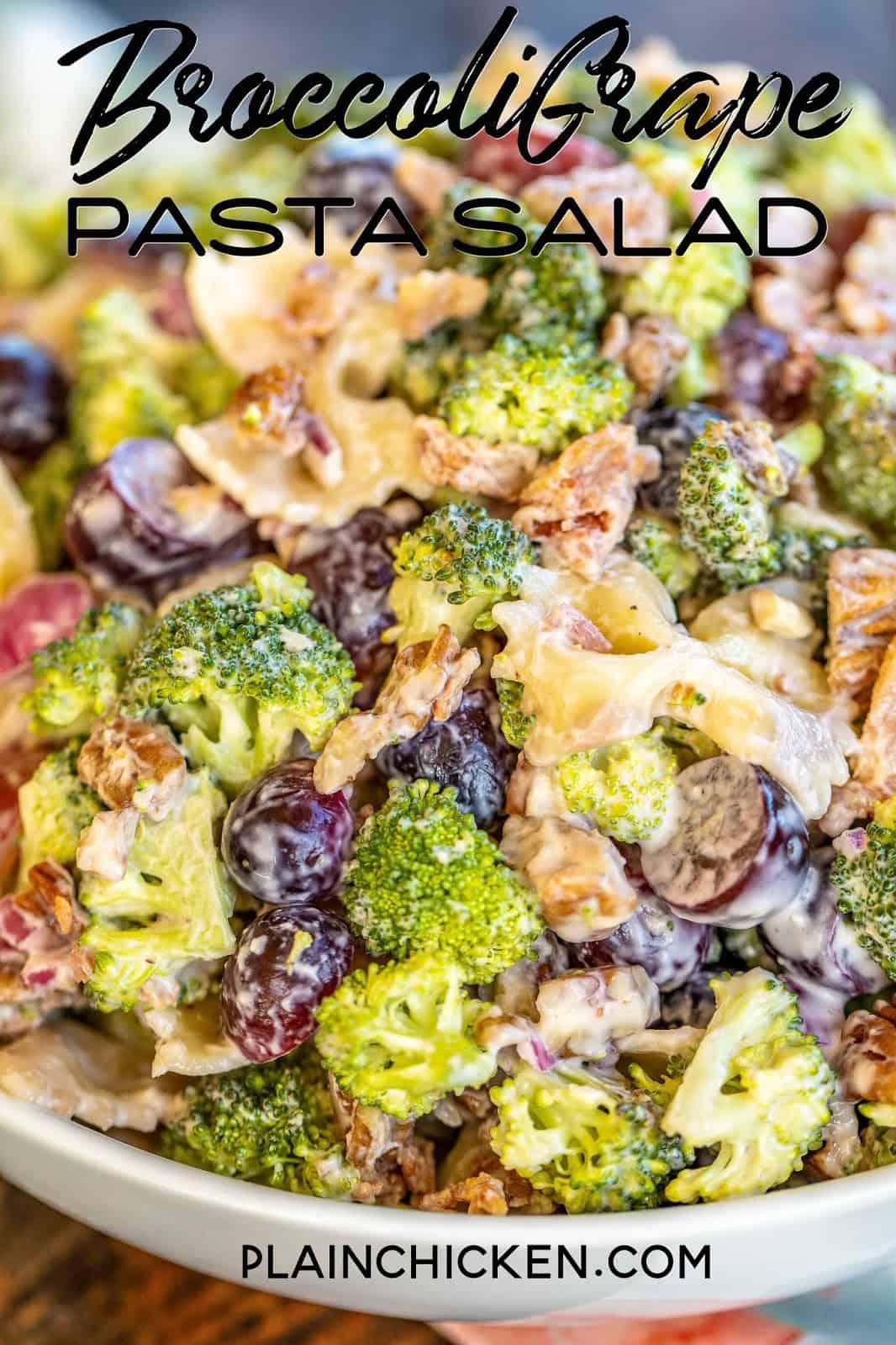 Broccoli Grape Pasta Salad in a bowl