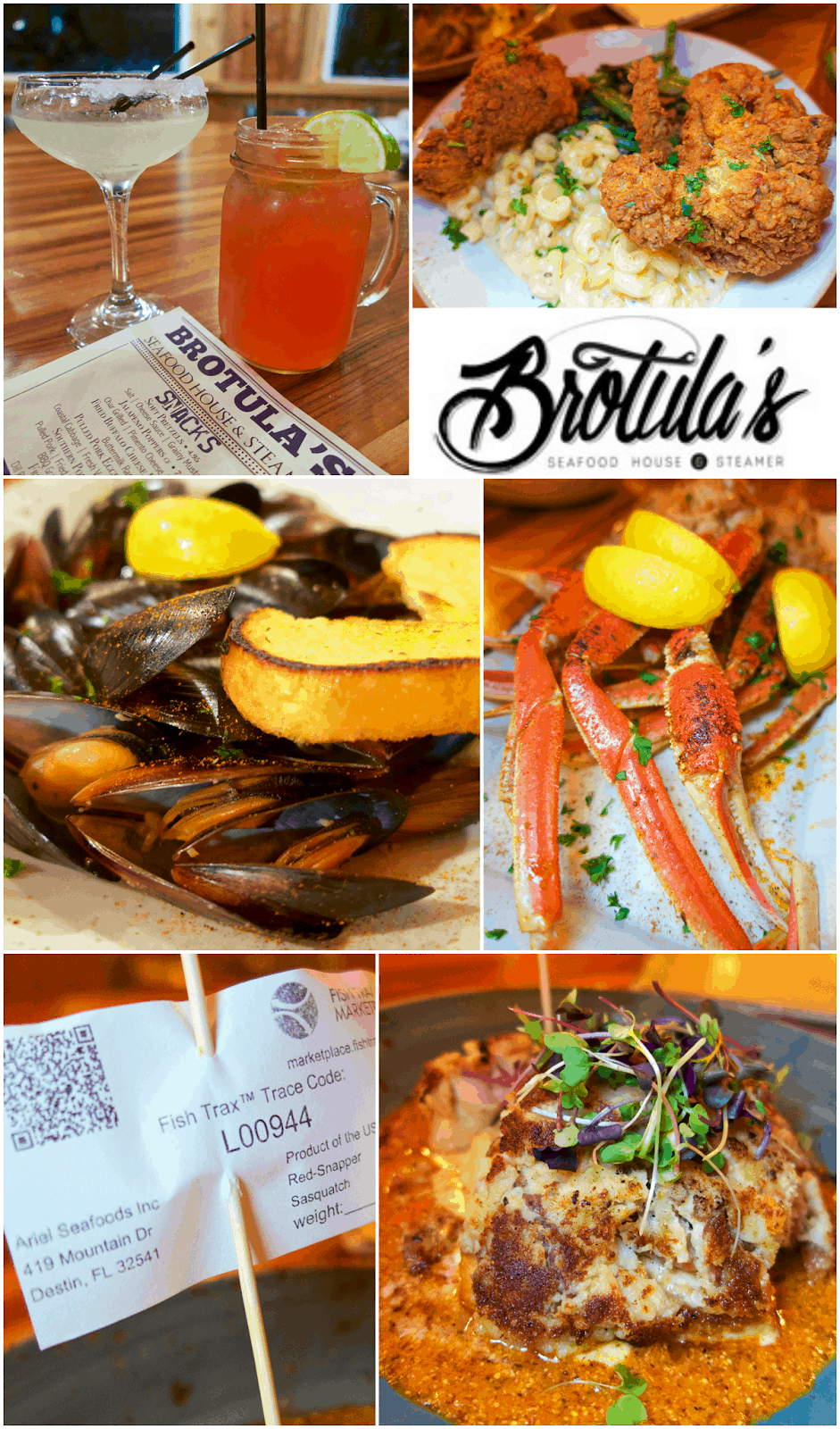 Brotula's Destin, FL - amazing seafood and southern favorites. We ate so much I thought we were going to explode!