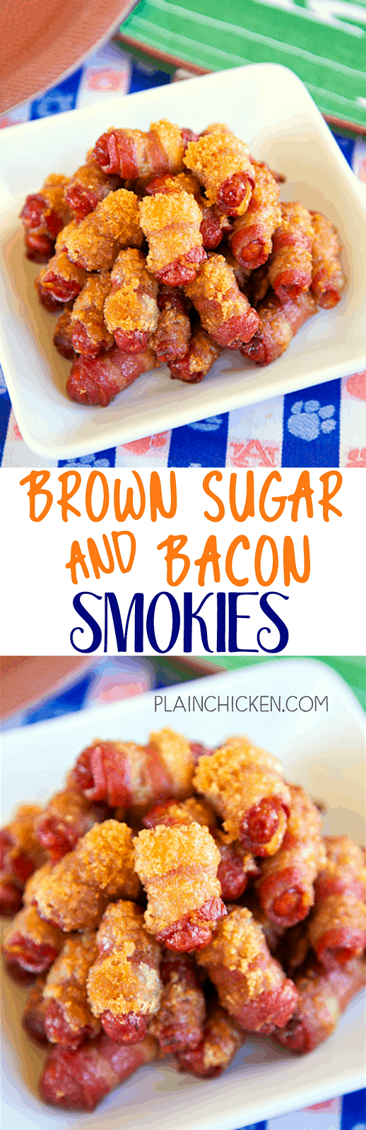 Brown Sugar and Bacon Smokies - only 3 ingredients and ready in under 30 minutes! These things fly off the plate at parties. I always double the recipe. SO GOOD!!!