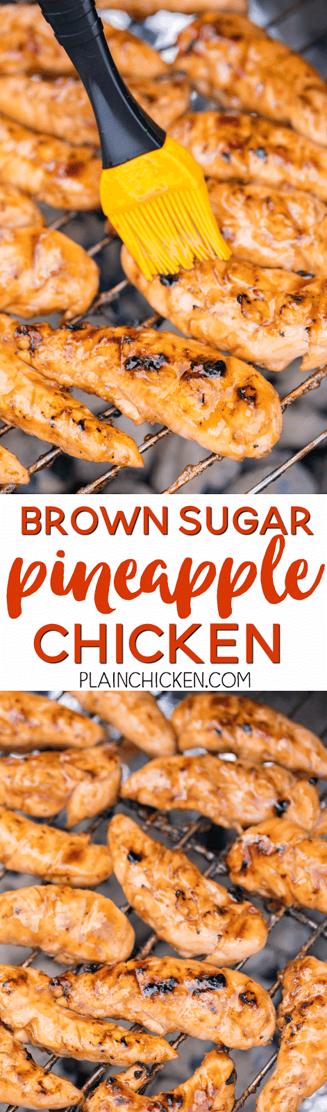 Brown Sugar Pineapple Chicken - only 4 ingredients! SO good!!! We actually made it twice in one week. Pineapple juice, brown sugar, BBQ sauce and chicken. Such an easy weeknight meal.