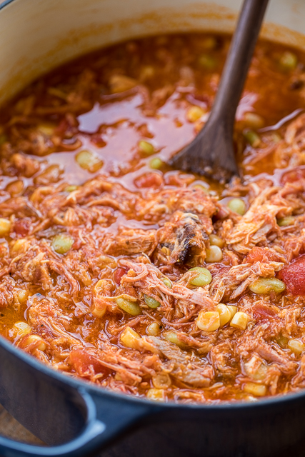 Quick Brunswick Stew - ready in 20 minutes! Pulled pork, chicken, lima beans, corn, chicken broth, BBQ sauce, tomato sauce - throw in the pot, bring to a boil and simmer for a few minutes. SO delicious! We made this two weeks in a row. We couldn't get enough of it! YUM!