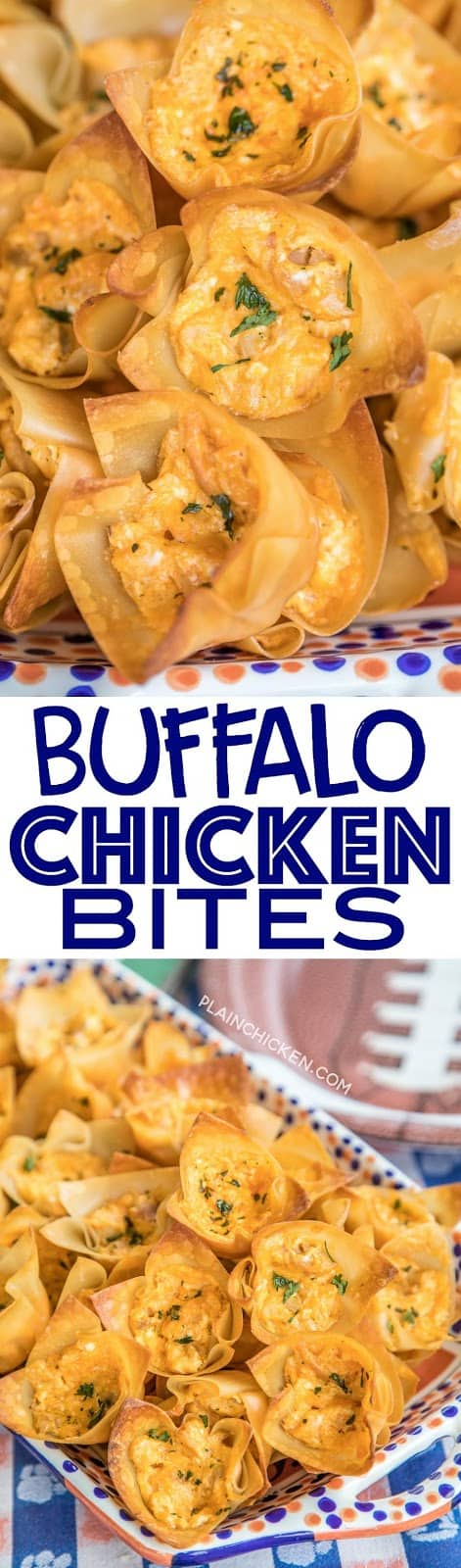 Buffalo Chicken Bites - creamy buffalo chicken dip baked in wonton wrappers. PERFECT for parties and tailgating!! I love these bite-sized appetizers!! Can adjust hot sauce to make the dip fit your tastes. Everyone RAVES about this yummy appetizer recipe! Always gone in a flash!