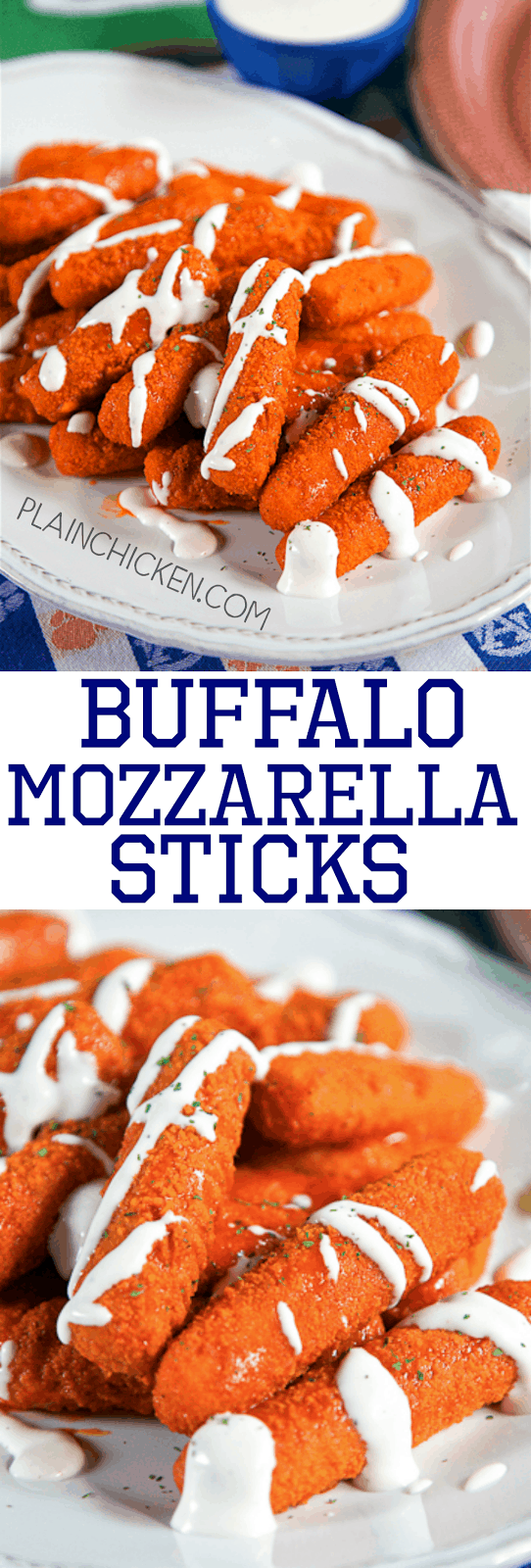 Buffalo Mozzarella Sticks - two favorites combined into one! SO good! Only 2 ingredients and ready in 15 minutes. Great for parties and tailgating.
