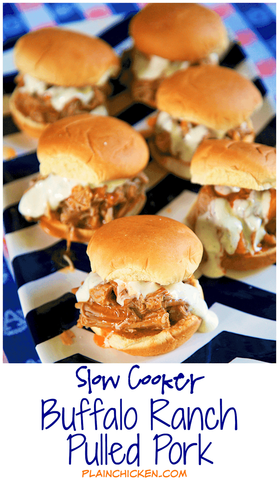 Slow Cooker Buffalo Ranch Pulled Pork - throw 3 ingredients into the slow cooker and let it do all the work. Great for tailgating or an easy lunch or dinner. Serve on slider buns or over nachos or rice. Can freeze leftovers!