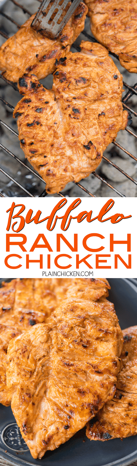 Buffalo Ranch Grilled Chicken - all the flavor of wings but without the messy fingers! This chicken is CRAZY good!! Only 5 ingredients in the marinade - olive oil, Ranch, buffalo sauce, Worcestershire and garlic. Can marinate overnight for maximum flavor. We always double the recipe and there are never any leftovers! Such a delicious quick and easy chicken recipe!