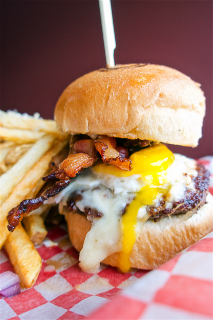 Burger 320 - homemade burgers and fries - Burger topped with bacon, egg, and cheese curds - Calgary, AB Canada