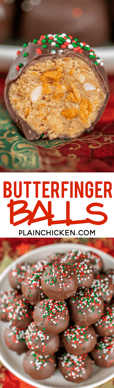 Butterfinger Balls - dangerously delicious!! Peanut butter, powdered sugar, graham crackers, Butterfinger bits, butter and chocolate candy coating. I could eat the whole batch! Great for parties, tailgating and homemade gifts! A must for the Butterfinger lover in your life! #candy #butterfinger #peanutbutter #dessert