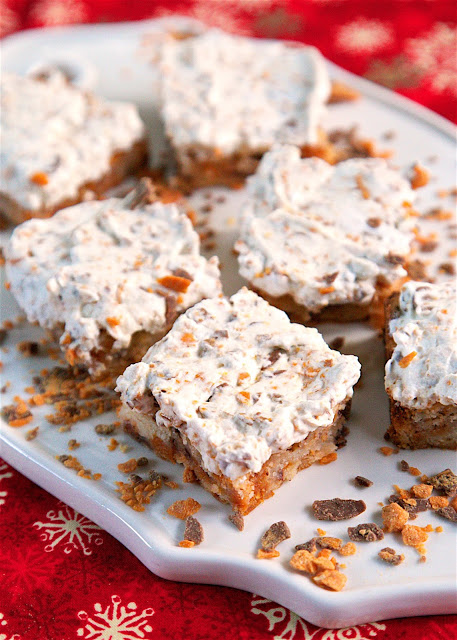 Butterfinger cookie bars on a tray