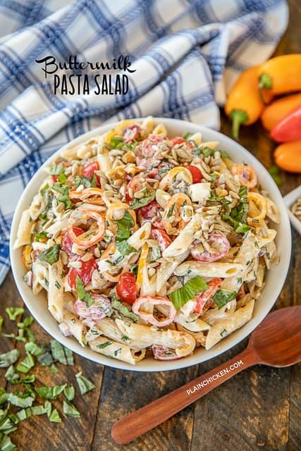buttermilk pasta salad in a bowl