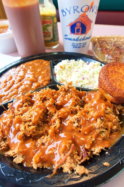 Chipped Pork Plate with 2 sides and cornbread from Byron's Smokehouse in Auburn, Alabama