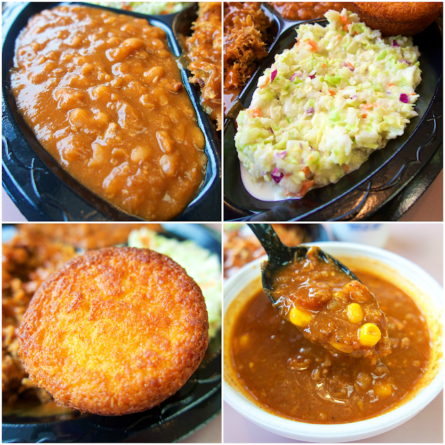 Baked Beans, Slaw, Cornbread and Brunswick Stew from Byron's Smokehouse in Auburn, Alabama