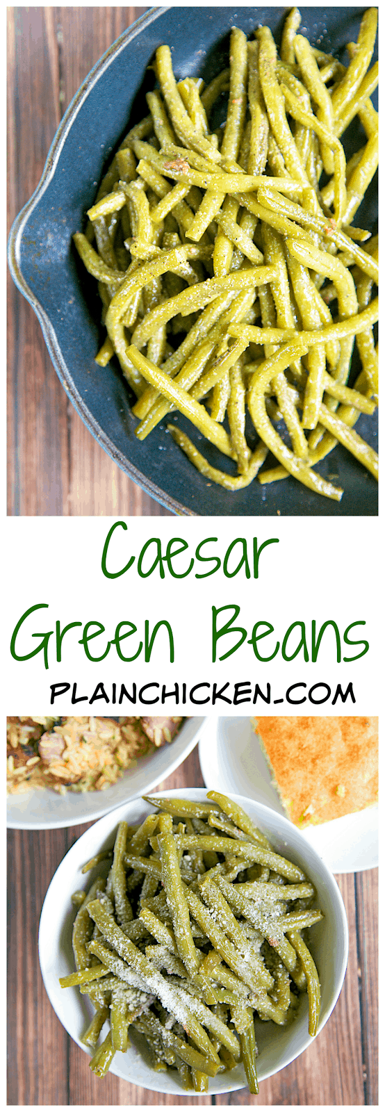 Caesar Green Beans Recipe - quick and easy side dish - only 3 ingredients! Cook green beans and then sauté in Caesar dressing. Ready in minutes. SOOOO good!! Double the recipe. These don't last long in our house!